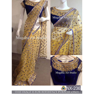 Srk yellow Colour net Embroidered Saree