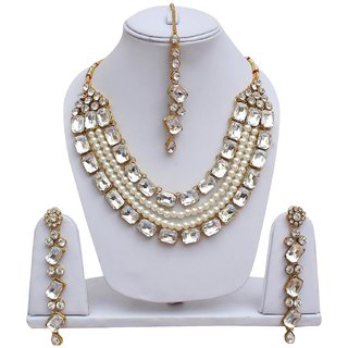 Lucky Jewellery Designer White Color Stone Necklace Set For Girls  Women