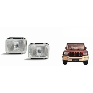 Autonity Car Crystal Headlight Assembly SET OF 2- Mahindra Bolero Type 1