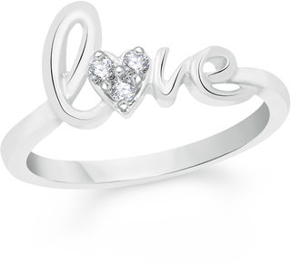 VK Jewels Love Rhodium Plated Alloy Ring for Women  Girls Made With Cubic Zirconia- FR2278R VKFR2278R8