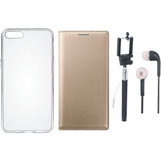 Redmi 4A Leather Flip Cover with Silicon Back Cover, Selfie Stick and Earphones