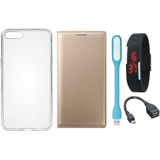 Redmi 4A Leather Flip Cover with Silicon Back Cover, Digital Watch, OTG Cable and USB LED Light