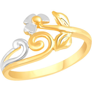 VK Jewels Beauteous Leaf Gold and Rhodium Matte Plated Alloy Ring for Women & Girls - FR2589G [VKFR2589G8]