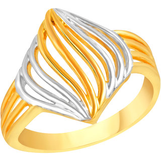 VK Jewels Sipal Gold and Rhodium Matte Plated Alloy Ring for Women & Girls - FR2593G [VKFR2593G8]