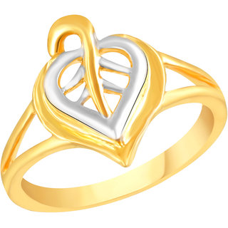 VK Jewels Leaf Gold and Rhodium Matte Plated Alloy Ring for Women & Girls - FR2594G [VKFR2594G8]