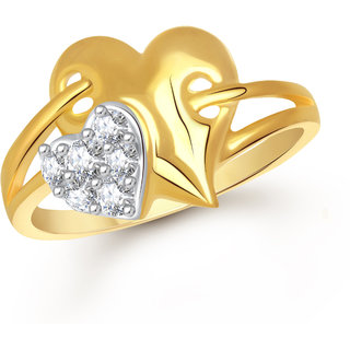 VK Jewels Heart With Heart Gold and Rhodium Plated Alloy Ring for Women & Girls Made With Cubic Zirconia- FR2191G [VKFR2191G8]