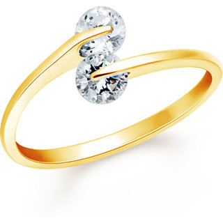 VK Jewels One Love Gold Plated Alloy CZ American Diamond Ring for Women [VKFR2657G8]