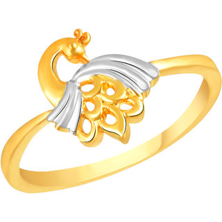 VK Jewels Peacock Gold and Rhodium Matte Plated Alloy Ring for Women & Girls - FR2596G [VKFR2596G8]