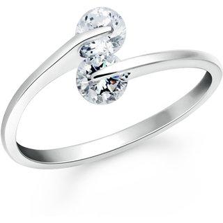 VK Jewels One Love Rhodium Plated Alloy CZ American Diamond Ring for Women VKFR2658R8