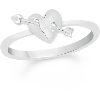 VK Jewels Cupid's Arrow in Heart Rhodium Plated Alloy Ring for Women & Girls - FR2279R [VKFR2279R8]