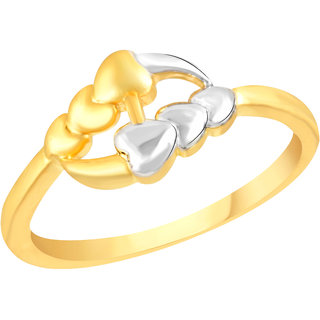 VK Jewels Three Heart Gold and Rhodium Matte Plated Alloy Ring for Women & Girls - FR2599G [VKFR2599G8]