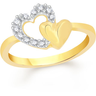 VK Jewels Open Heart Gold and Rhodium Plated Alloy Ring for Women & Girls Made With Cubic Zirconia- FR2194G [VKFR2194G8]