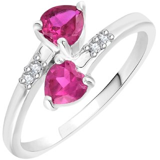VK Jewels Double Heart Rhodium Plated Alloy CZ American Diamond Ring for Women [VKFR2542R8]