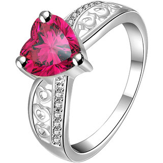 VK Jewels Red Heart Rhodium Plated Alloy CZ American Diamond Ring for Women [VKFR2654R8]