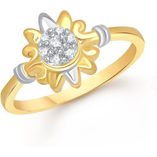 VK Jewels Sunshine Gold and Rhodium Plated Alloy Ring for Women & Girls Made With Cubic Zirconia- FR2195G [VKFR2195G8]