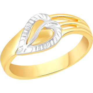VK Jewels Leaf Gold and Rhodium Plated Alloy Ring for Women & Girls - FR2592G [VKFR2592G8]