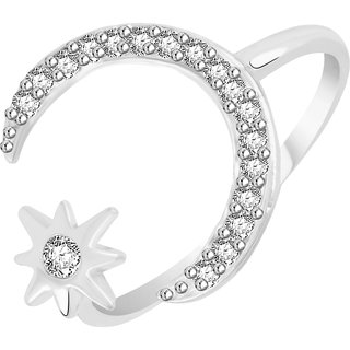 VK Jewels Moon with Star Rhodium Plated Alloy CZ American Diamond Ring for Women [VKFR2728R8]