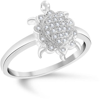 VK Jewels Tortoise Rhodium Plated Alloy Ring for Women & Girls Made With Cubic Zirconia- FR1918R [VKFR1918R8]