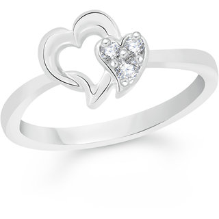 VK Jewels Dual Heart Rhodium Plated Alloy Ring for Women & Girls Made With Cubic Zirconia- FR2269R [VKFR2269R8]