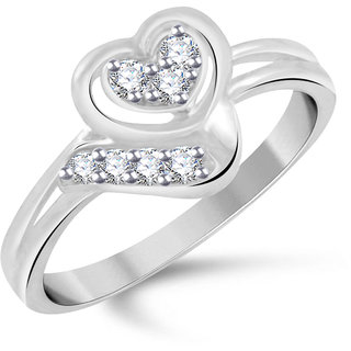 VK Jewels Heart Rhodium Plated Alloy Ring for Women & Girls Made With Cubic Zirconia- FR2449R [VKFR2449R8]