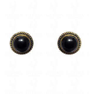 Black Spinel Gemstone Stud Earring In .925 Silver Overlay