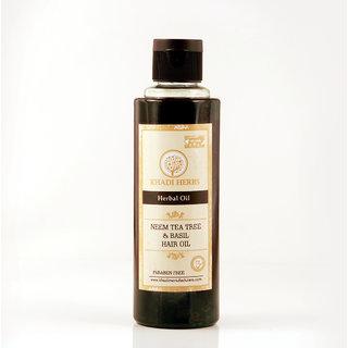 Khadi Herbs Neem TeaTree  Basil Hair Oil, 210 ml- Paraben Free