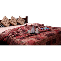 Jaipuri Traditional Ethnic Single Cotton Quilt In Maroon Zig-Zag Design