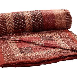 Jaipuri Traditional Ethnic Single Cotton Quilt - Maroon & Brown