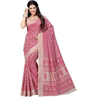 Ashika Pink Printed Tussar Silk Saree With Blouse