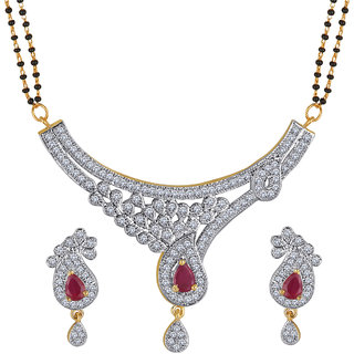 Spargz Gold Plated Wedding Indian Bollywood CZ  Ruby Mangalsutra Necklace set Jewelry For Women AIMS_148