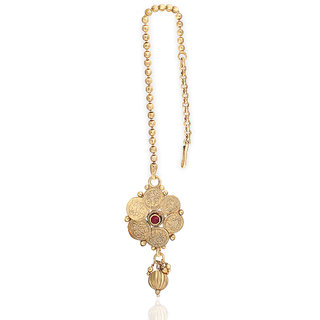 Traditional Laxmi Coin Kemp Stone Gold Plated Maang Tikka For Women & Gilrs