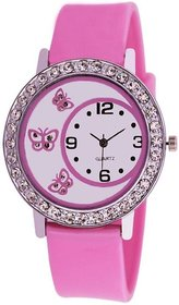 Round Dial Pink Analog Watch For Women By Bhavyam Sales