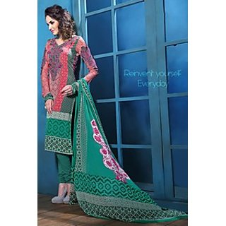 Admyrin Green and Red French Crepe Salwar Kameez Containing Embroidery with Green Dupatta
