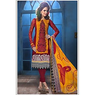 Admyrin Yellow and Maroon French Crepe Salwar Kameez Containing Embroidery with Yellow Dupatta
