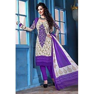 Admyrin Cream and Purple Floral Embroidery Salwar Kameez with Purple Chiffon Bottom