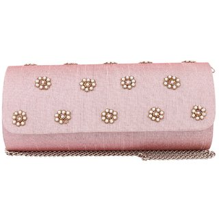 Tarusa Pink Embroidered Clutch