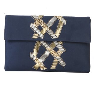 Tarusa Blue Self Design Clutch
