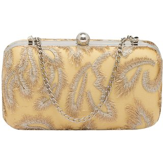 Tarusa Gold Embroidered Clutch