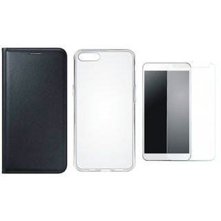 Oppo F3 Leather Flip Cover with Silicon Back Cover, Tempered Glass