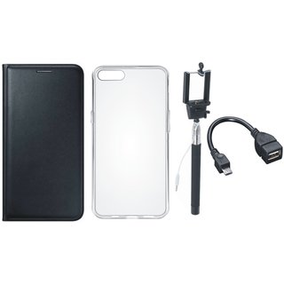 Oppo F3 Leather Flip Cover with Silicon Back Cover, Selfie Stick and OTG Cable