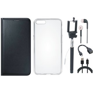 Oppo F3 Leather Flip Cover with Silicon Back Cover, Selfie Stick, Earphones, OTG Cable and USB Cable