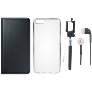 Oppo F3 Leather Flip Cover with Silicon Back Cover, Selfie Stick and Earphones