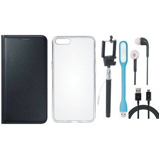Oppo F3 Leather Flip Cover with Silicon Back Cover, Selfie Stick, Earphones, USB LED Light and USB Cable