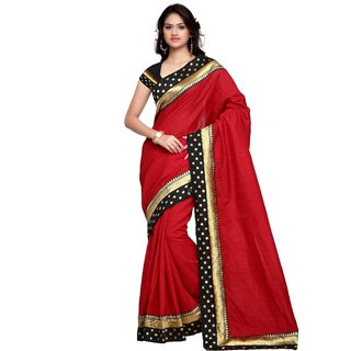 83455532a73b0f Buy sidhidata textile women s red plain art silk saree with golden border  along with unstitched blouse piece Online   ₹749 from ShopClues