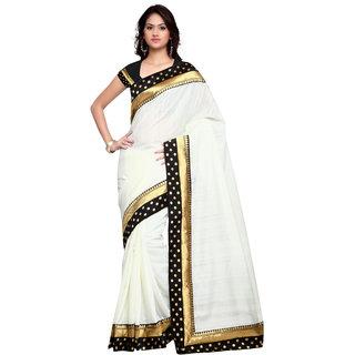 7c5ec069b7b401 sidhidata textile women's off white plain art silk saree with golden border  along with unstitched blouse piece