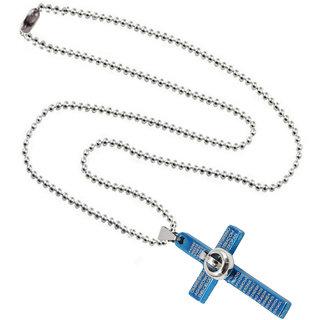 Men Style Christams Gift Jesus Crucifixion Cross Locket  Ring Fashion Jewellery  Blue  Silver  Zinc Alloy Round shape Pendant  For Men