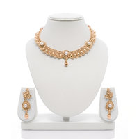 Senorita Traditional Necklace Set PS0019 With Pearls And Antique Gold Finish