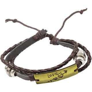 95773a61fbd55 Men Style Love Heart Design Charm Brown Gold Bronze Leather Lace Up  Bracelet For Men
