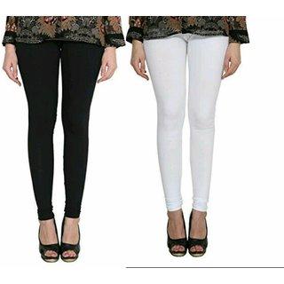 ALISHAH WHITE Black Cotton Lycra Churidar Leggings For Women's and Girls (Pack Of 2)