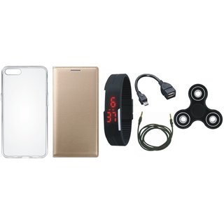 Oppo F1 Plus Leather Flip Cover with Spinner, Silicon Back Cover, Digital Watch, OTG Cable and AUX Cable